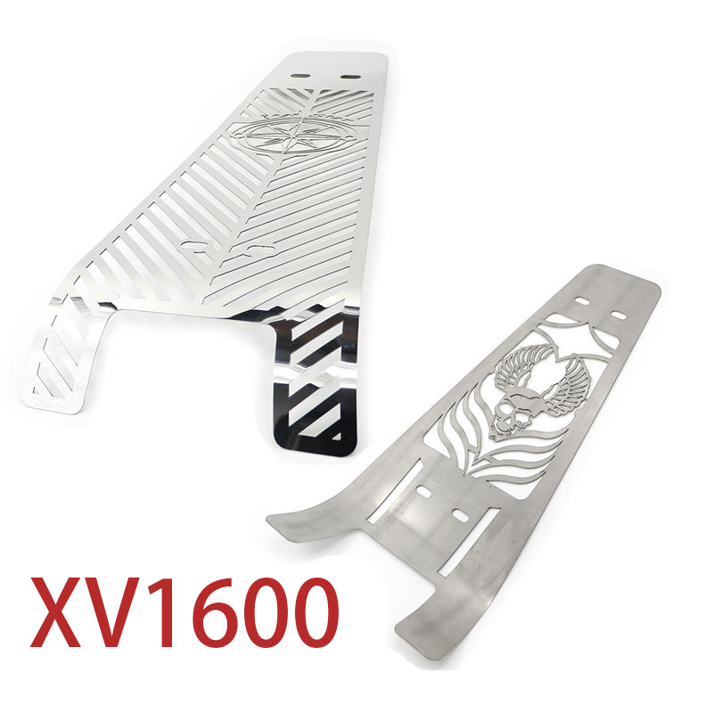 Chrome Motorcycle ROAD STAR SKULL STAINLESS STEEL Engine Radiator Guard Engine Grill Cover for YAMAHA XV