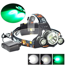 Boruit Headlight 5000 Lumen Headlamp Lantern XML T6 +2R5 Green LED Head Flashlight Light  T6 LED linterna frontal For Camping