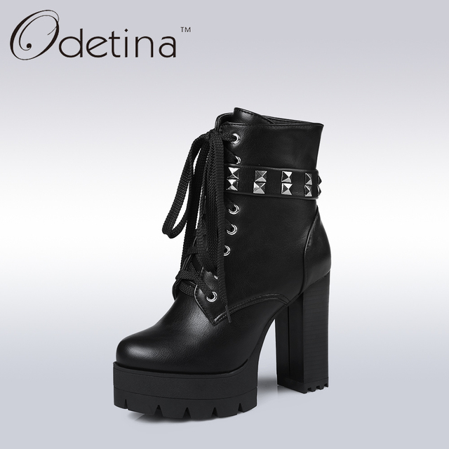Odetina Sexy Extreme High Heels Women Motorcycle Boots Fashion Women Lace  Up Rivets Punk Boots Lady Side Zipper Platform Booties d63a8baa8d8a