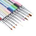 1 Unid Gel UV Pintura Liner Brush Pen Cutícula Removedor de Cuarzo Colorido Grano Manejar Herramientas de Manicura de Uñas