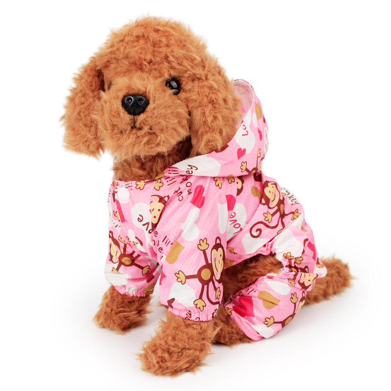 Monkey Printed Dog Raincoat For Small Dogs Waterproof Jumpsuit Pet Clothes Outdoor Clothing Cute Cartoon Dog Cat Hooded Raincoat