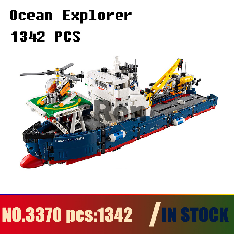 Models building toy 3370 1342Pcs 2in1 Technic Series Ocean Explorer Building Blocks Compatible with lego 42064 toys & hobbies 1347pcs techinic 2in1 ocean explorer