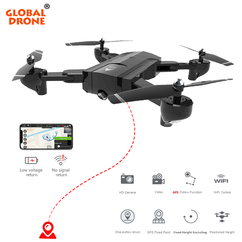 Global Drone Profissional GPS Quadcopter Follow Me Drones With Camera HD RC Helicopter Fly Camera HD Foldable FPV Drone original gdu o2 drones fpv foldable quadcopter with 4k hd camera gps