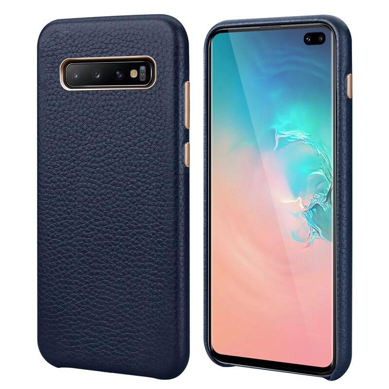 Pour Samsung S10 téléphone coque arrière S10E Litchi peau véritable étui en cuir mince affaires couverture intelligente pour Samsung Galaxy S10 Plus