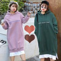 Hoodies for Women Hooded Plus Size Thicker Letter Printed Patchwork Loose Long Sweatshirts Womens Korean All match Chic Pullover