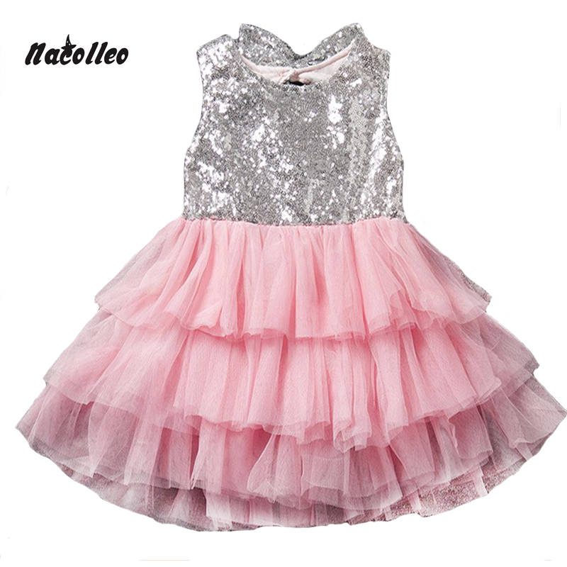Buy Cheap 2017 Infant Baby Girls Dress Bowknot Sequined Dress Princess Tutu Cake Dresses Hollow Out Toddler Kids Bowknot Party Dresses