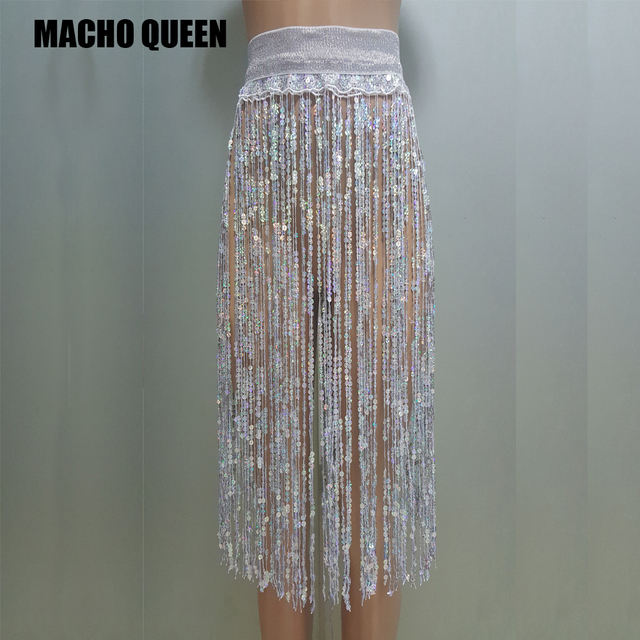 fdc9db5f28b7 Holographic Summer Musical Festival Rave Wear Clothes Outfits Clothing  Skirt Womens Hologram Sequin Fringe Burning Mand outfits