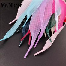 1 Pair Square Grid Nylon Flat Shoelaces Colourful Ultra-thin 2.5 cm Wide Translucent Silk Ribbon Shoe Laces for Women Shoes(China)