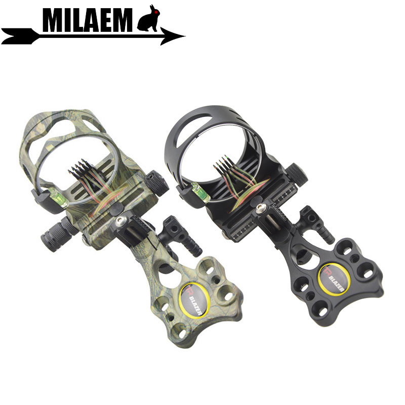 Archery Compound Bow Sight 5pin 019 Optical Fiber Micro Adjustable Bow Sight With Light Outdoor Shooting Compound Accessories