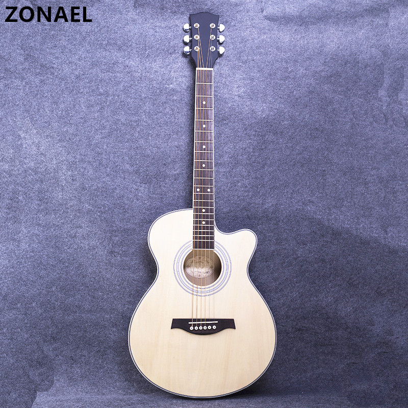 все цены на ZONAEL Hot 40 Inch High Quality Acoustic Guitar Rosewood Basswood Folk Guitarra With 6 Strings Beginners To Practise The Harp онлайн
