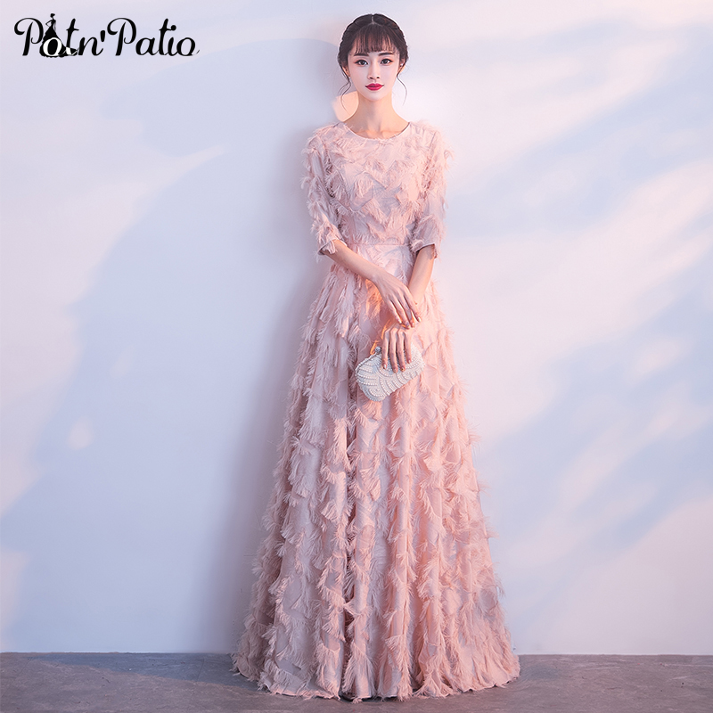 Feather Lace Pink Evening <font><b>Dresses</b></font> Long <font><b>2019</b></font> O-neck With Half Sleeves A-line Floor-Length <font><b>Formal</b></font> <font><b>Dresses</b></font> <font><b>Women</b></font> <font><b>Elegant</b></font> Plus Size image