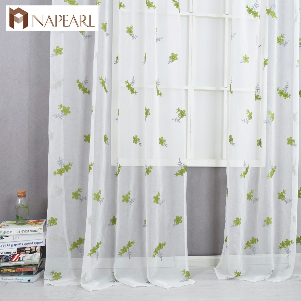 Embroidered Curtains Green Sheer Fabrics Tulle Curtain Window Treatment  Rustic Living Room Bedroom Modern Curtain Kitchen Short