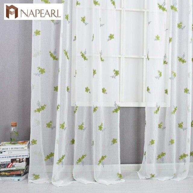 US $9.95 49% di SCONTO|Tende ricamate verde tessuti trasparenti tulle tenda  trattamento di finestra tenda rustico soggiorno camera da letto moderna ...