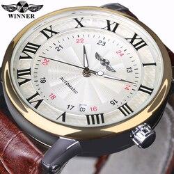 Zwycięzca mężczyźni zegarki Top marka zegarki luksusowe 2016 nowe skórzane mężczyzna automatyczny zegarek mechaniczny mężczyzna biznes zegarki na rękę