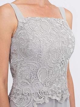 Elegant Gray Lace Mother of The Bride Pant Suit 2019 Plus Size Chiffon Formal Evening Dresses Long Vestidos De Madrina 4
