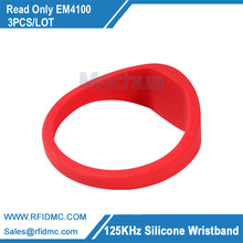 (3 pcs/lot) Universal RFID Bracelet EM4100 125Khz Silicone Wristband Size Proximity for Access Control