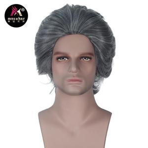Image 4 - Miss U Hair peluca fiesta de Halloween para hombre, pelo sintético, gris, ondulado