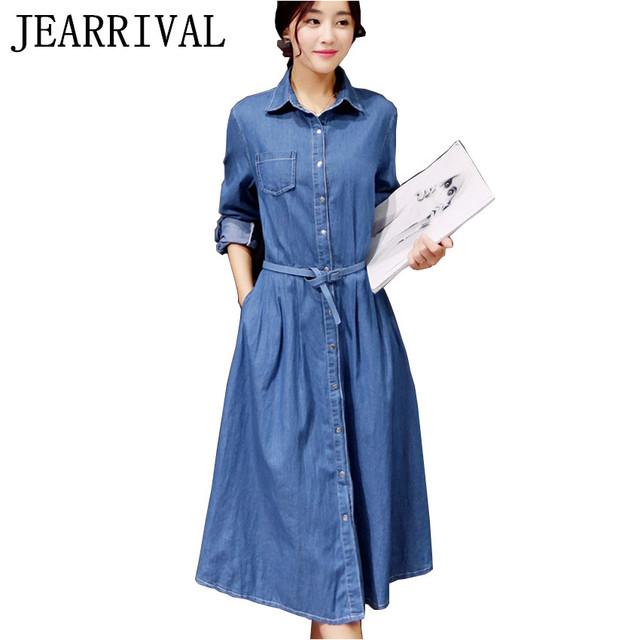 Mujeres denim dress 2017 nueva moda de primavera y verano de manga larga túnica elegante oficina vestidos de fiesta casual jeans vestidos con cinturón