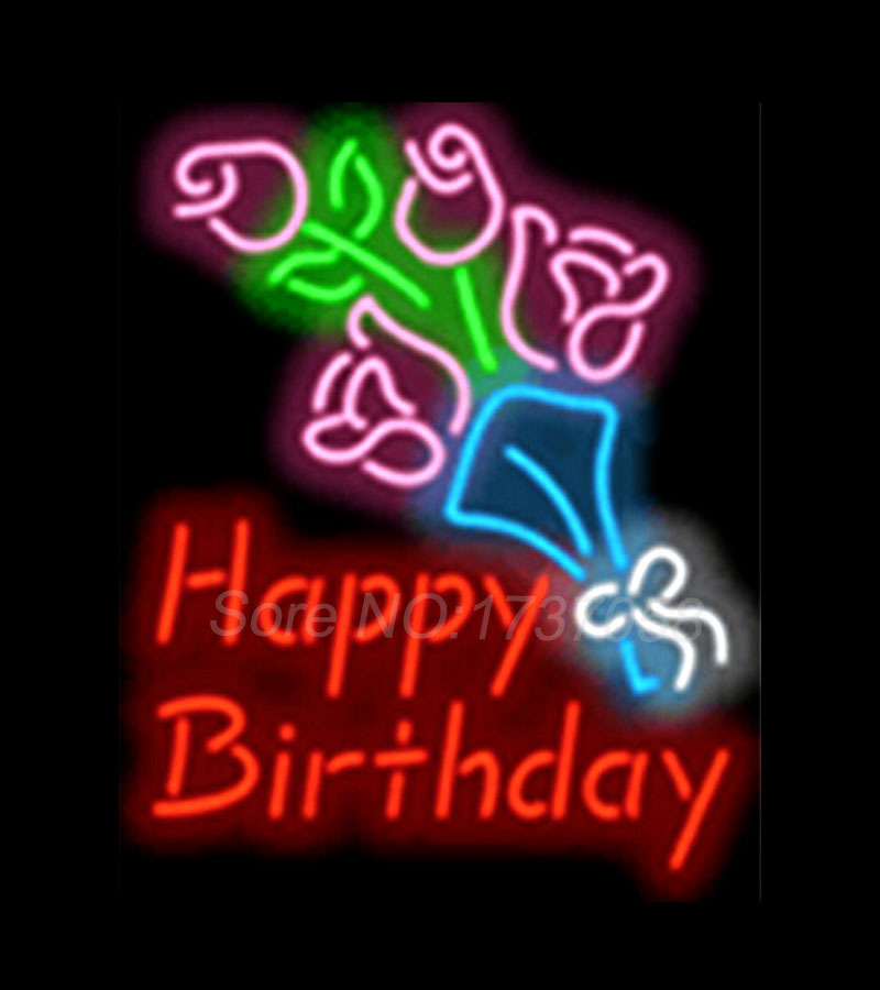 Happy Birthday With Flowers Shop Neon Sign Commercial