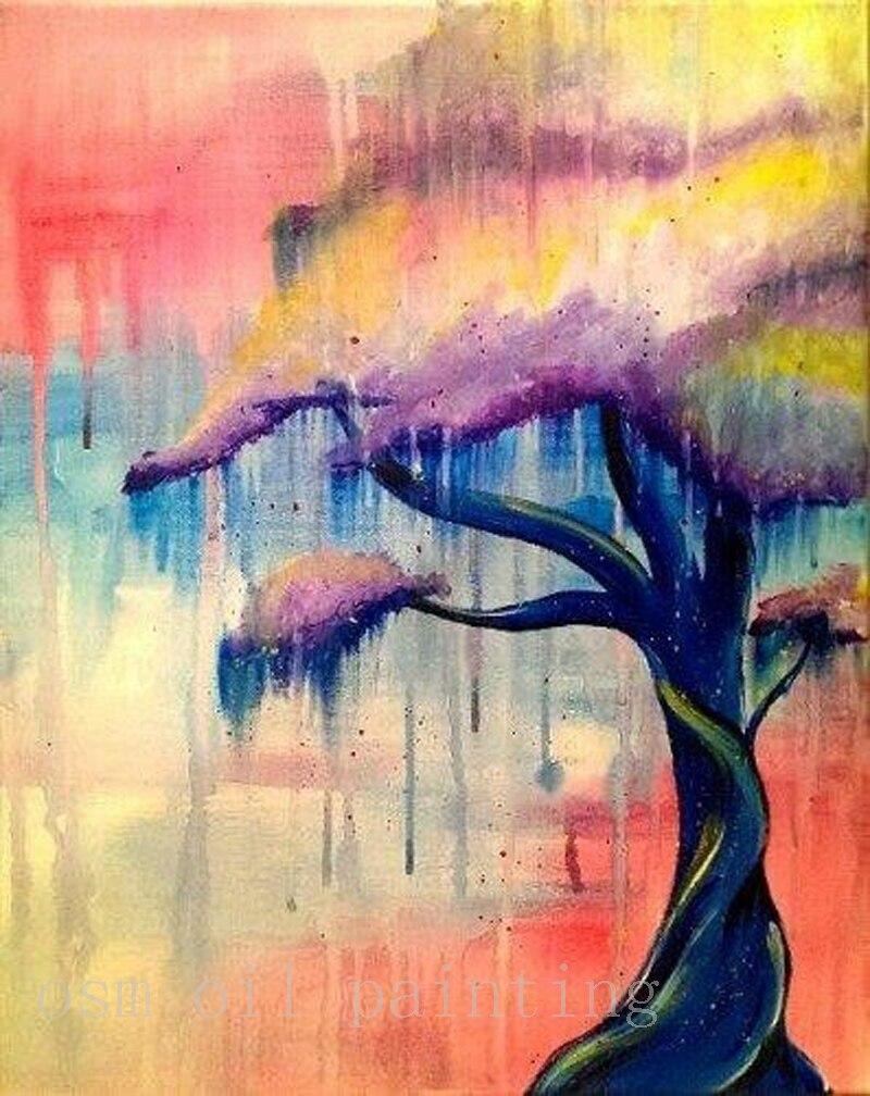 Us 36 0 50 Off Top Artis Buatan Tangan Modern Abstrak Warna Warni Pemandangan Pohon Gambar Yang Dilukis Dengan Tangan Dinding Seni Cat Air Tanaman