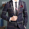 OSCN7 Темно-Синий Slim Fit Плед Костюм Мужчины Нотч Бизнес вечерние Платья Костюмы Для Мужчин Мода Llatest Пальто Пант Дизайн Terno