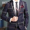 OSCN7 Azul Marinho Slim Fit Plaid Suit Notch Lapela Dos Homens de Negócios Vestido Formal Ternos Para Homens Moda Llatest Pant Brasão Designs Terno