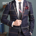 OSCN7 Navy Blue Slim Fit Plaid Suit Men Notch Lapel Business Formal Dress Suits For Men Fashion Llatest Coat Pant Designs Terno