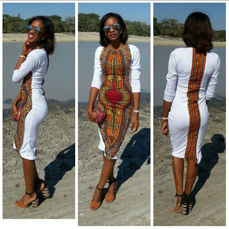 African Print Fashion: African Women Clothing Newest White Dashiki Fashion Dress