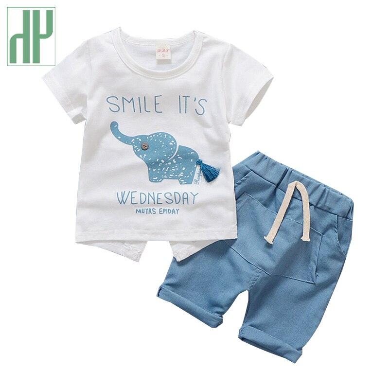 Crianças roupas elefante dos desenhos animados impressão da criança da menina roupas de verão top + pant meninos casuais ternos do esporte roupa 1 2 3 4 anos