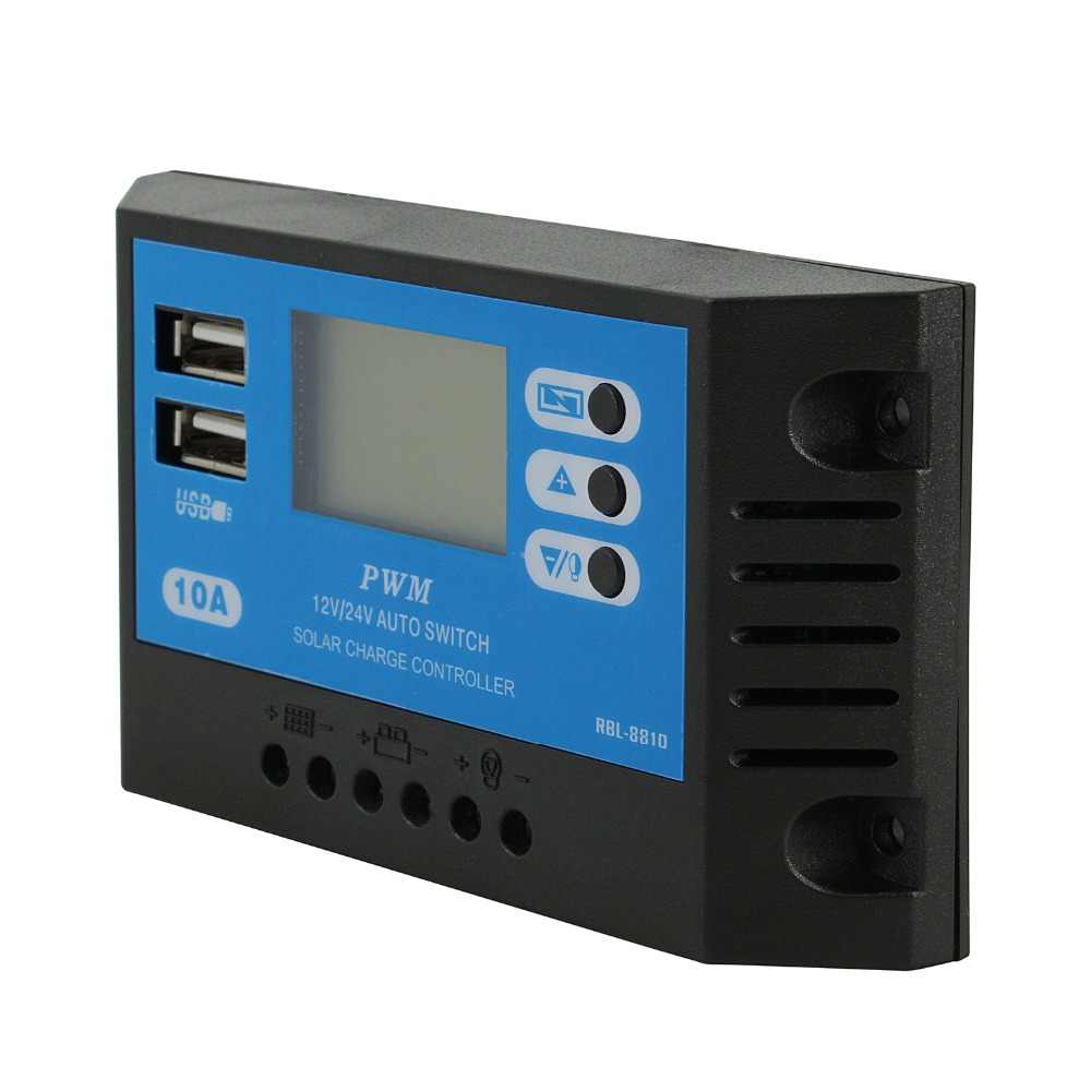 PowMr PWM 10A Solar Panel Controller 12V 24V Auto Solar Charge Regulator LCD For 240W Solar Battery With Dual USB Output Voltage
