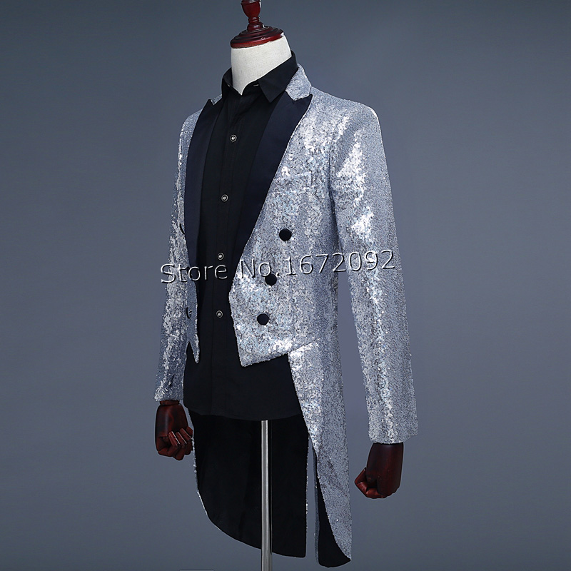 Multi-color Men Chaqueta Hombre Formal Silver Sequin Men Costume Chaqueta De Vestir Hombre Robe De Mariage Men Costume Homme