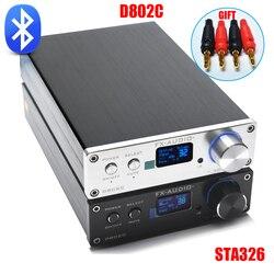 FX 오디오 D802C 무선 블루투스 버전 입력/USB/AUX/광/동축 순수 디지털 오디오 앰프 24Bit/192 키로헤르쯔 80 와트 + 80 와트 OLED