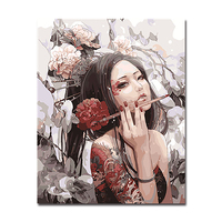Framework DIY Digit Canvas Oil Painting By Numbers Kits Coloring Handpainted Anime Beauty Portraits Pictures Home