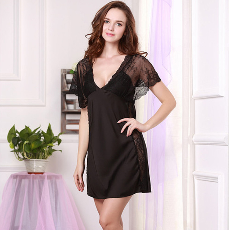 2015 Women Sexy Silk Satin Nightgown Short Sleeve Night Dress V-neck Nightdress Lace Night Gown Above Knee Sleepwear Nightwear