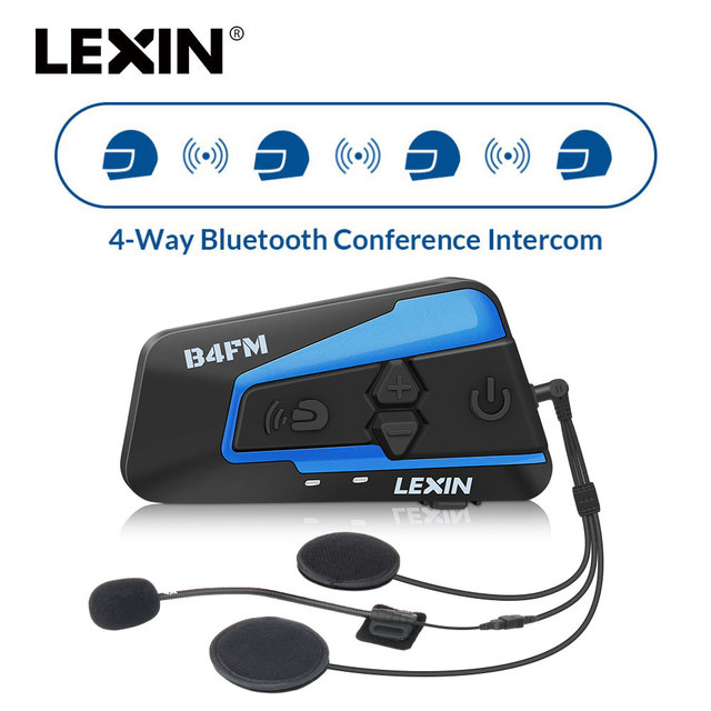 Newest 2018 Lexin LX-B4FM for 4 riders Motorcycle Bluetooth Helmet Headsets Intercom BT intercomunicador with universal pairing