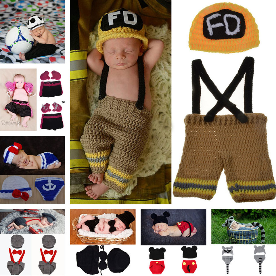 Crochet Baby Boy Football Hat&Pants Set Knitted Infant Baby Football ...