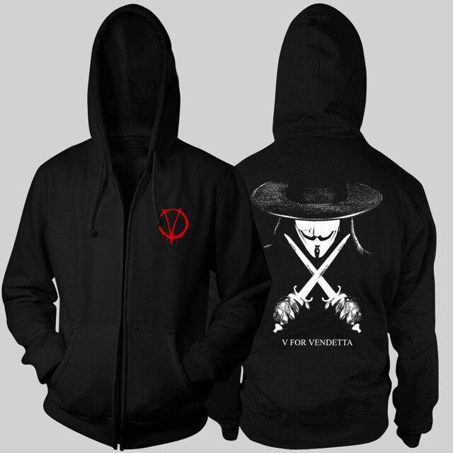 b16772ae5e885 Sweat à capuche pour homme Cool V for Vendetta sweat à capuche noir avec  fermeture éclair