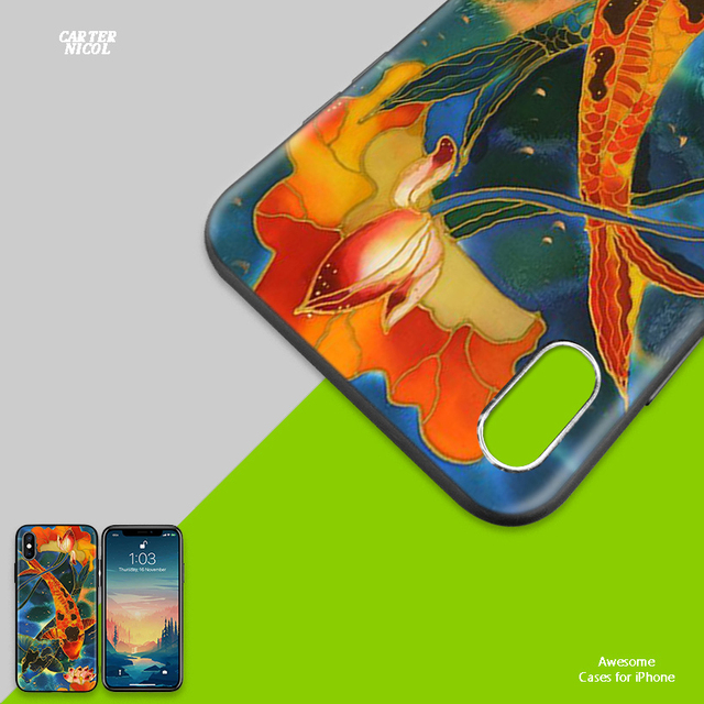 Koi Fish Lucky Japan Soft Anti-knock Silicone Case Cover for iPhone X XS XR XS 11 11Pro Max 7 8 6 6S 5 5S 5C SE Plus Fundas Capa