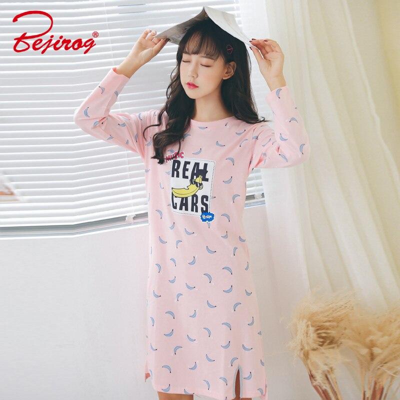 Bejirog women's sleepwear nightdress animal cotton   nightgowns     sleepshirts   in autumn long sleeve lounge for kids girls plus size