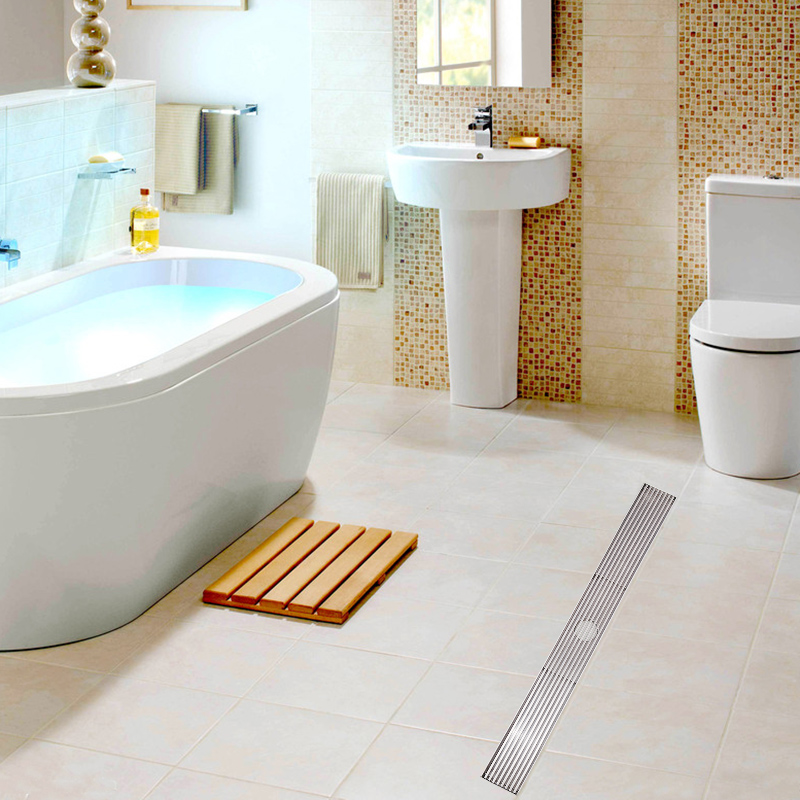 Luxury 304 Stainless Steel Bathroom Drains Rectangle Deodorization Bathroom Linear Shower Floor Drain Srainer 600mm x 68mm