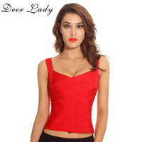 Deer Lady Free Shipping Bandage Top Summer Women 2017 New Sexy Elastic Red Knitted Rayon Bandage
