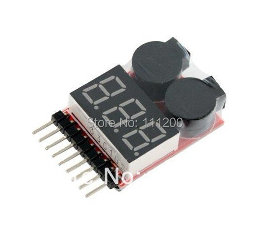 1 8S Lipo/Li ion/Fe RC helicopter airplane boat etc Battery digital Voltage  meter monitor 2 IN1 Tester Low Voltage Buzzer Alarm-in Parts & Accessories