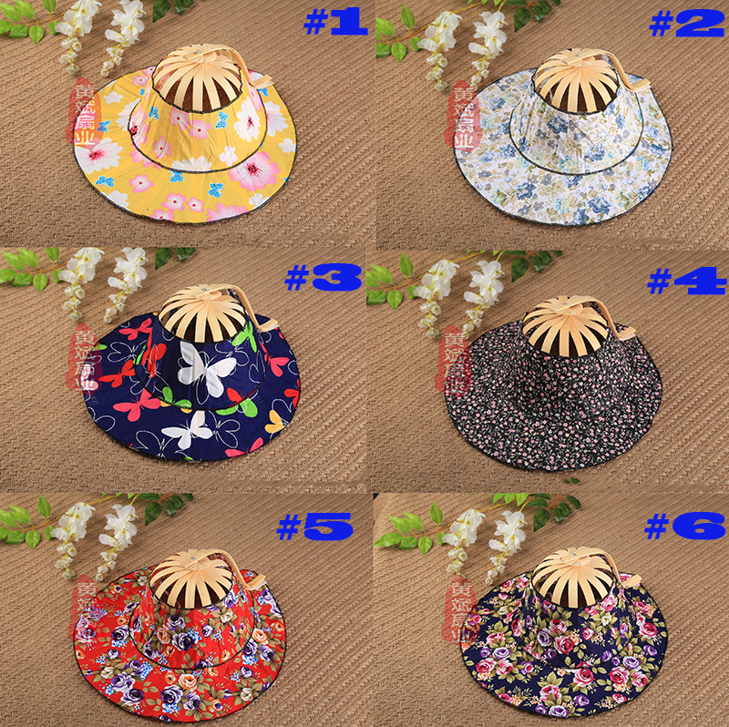 47fbd811 1pcs Folding Fan Hand Held Folding Fans Traveling cap Summer Women Girl Sun  Hat Bamboo Dancing