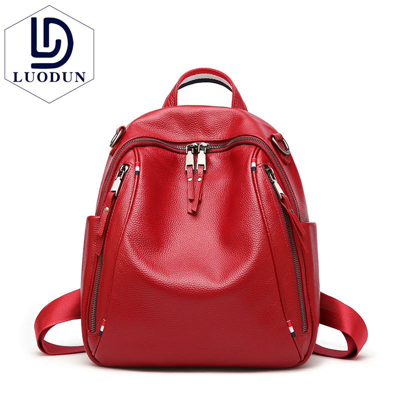 LUODUN 2018 New Shoulder Bag British Wind Lady First layer Leather Double Zipper Large capacity Wild Backpack Backpack luodun new genuine leather female bag the first layer of leather tassel shoulder bag british fashion backpack school bag