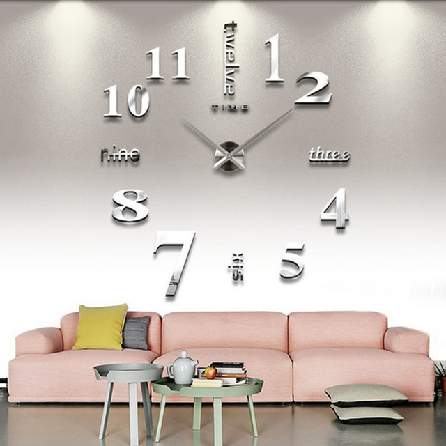 diy wall sticker clock 3d big mirror clock wall stickers 2018 new