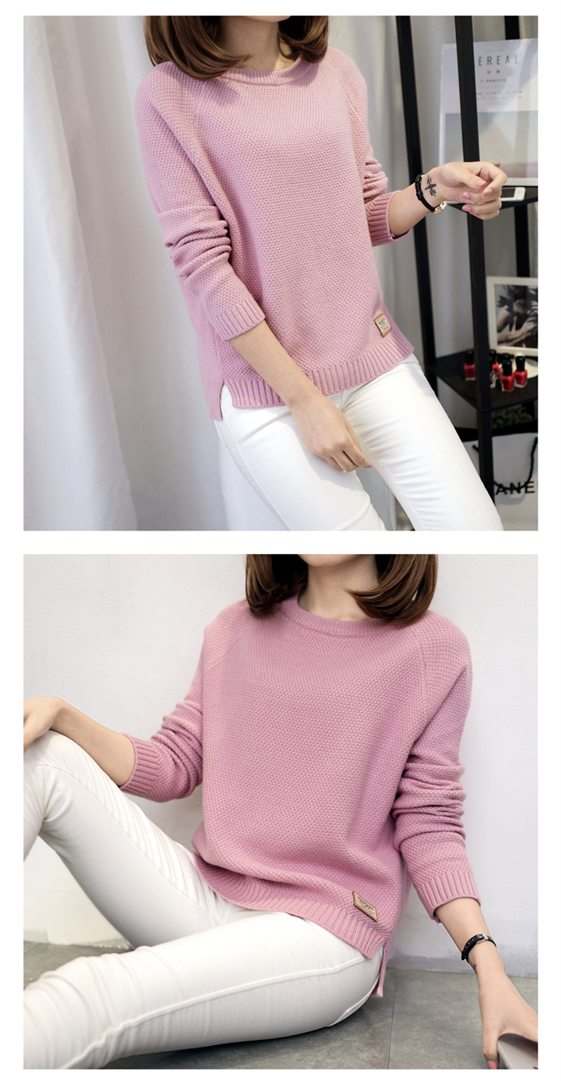 Autumn sweater 19 Winter women fashion sexy o-neck Casual women sweaters and pullover warm Long sleeve Knitted Sweater 12