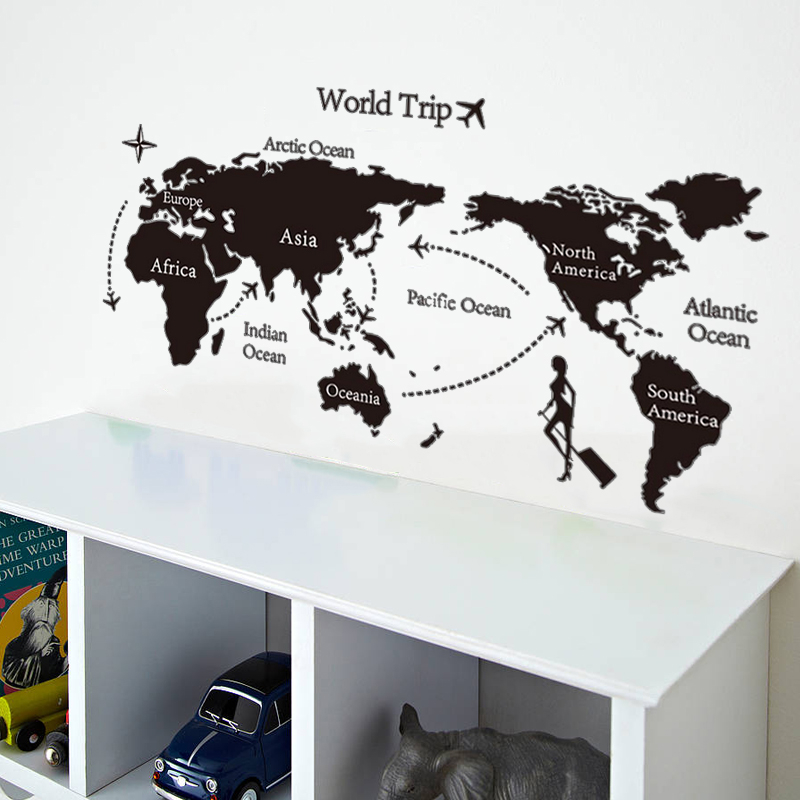 World Trip Map Wall Stickers Home Decor Living Room Bedroom Home Office School Decoration Pvc Wall Decals Diy Mural Art