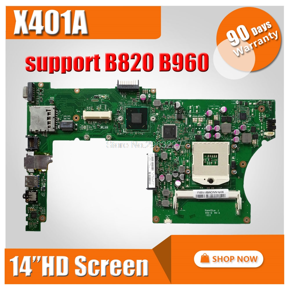 for ASUS X301A X401A X501A laptop motherboard support X401A 14'' inch screen support B820 B960 CPU HM70 mainboard fully tested for asus x401a x501a hm70 sljnv b820 b940 laptop motherboard rev2 0 ddr3 pga989 mainboard 100