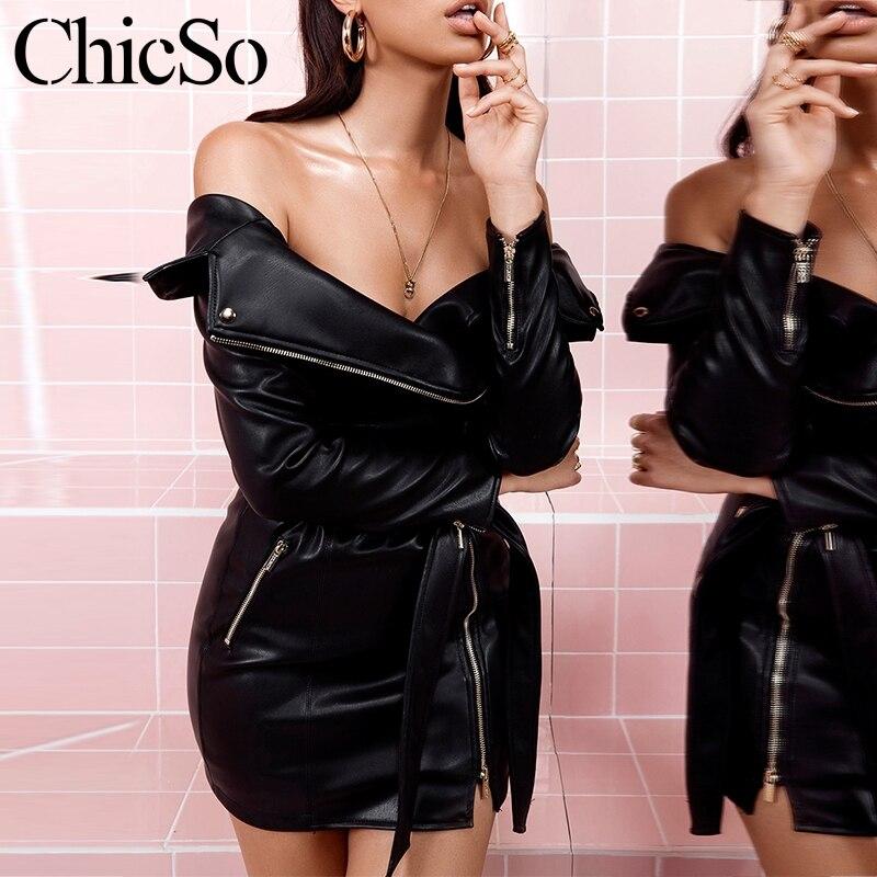 08791bbd0f96 Missychilli Bretelles Sexy Élégant De Fête Robes Court Automne En Cuir  Femmes Tenue Slim Hiver Robe ...