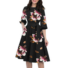 A-Line Women Elegant Half Sleeve Pocket Sashes Knee-Length Casual Dress Fashion shein sexy dress D300331(China)